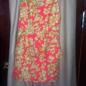 Lilly Pulitzer Dresses - Julie Brown Elenor Pink Combo Peplum Dress, Sz 8